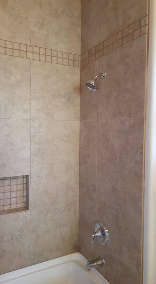 Ceramic Tile Shower Remodel with 10\' Ceilings | San Tan Remodeling