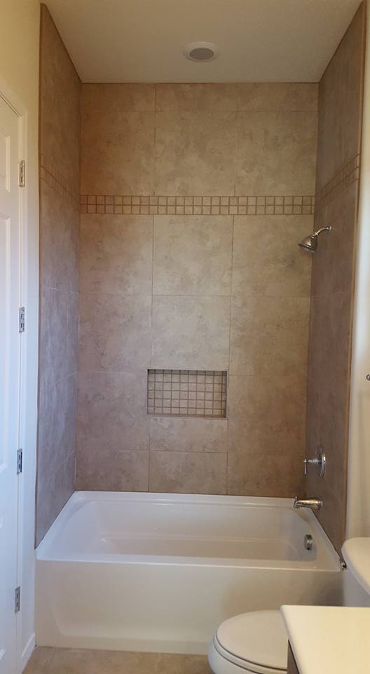 Ceramic Tile Shower Remodel with 10\' Ceilings | San Tan Remodeling