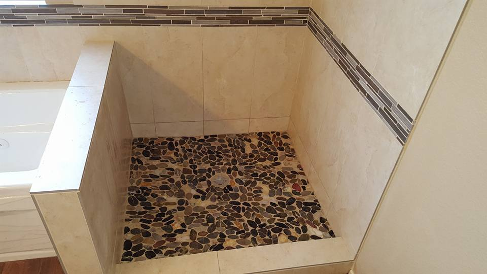 my latest master bathroom remodel with a new jacuzzi tub pony wall and shower tile also tiled the floor in bathroom and bedroom - Bathroom Designs With Jacuzzi Tub