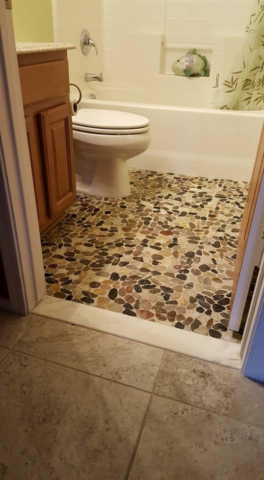 Stone Pebble Bathroom Floor San Tan